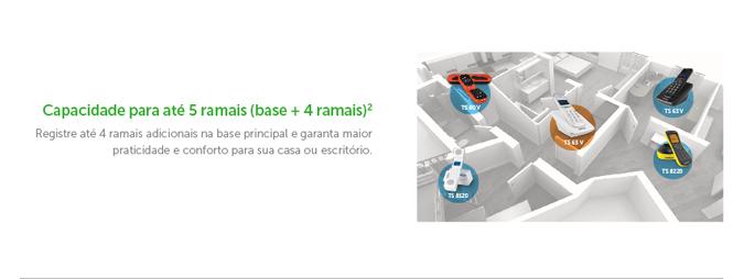 Capacidade para até 5 ramais (base + 4 ramais) Registre até 4 ramais adicionais na base principal e garanta maior praticidade e conforto para sua casa ou escritório.
